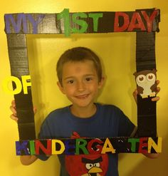 Kindergarten frame: cue cardboard into a frame and spray paint frame. Use word art and trace and cut out letters on poster board then paint letters and glue on.