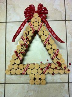 Decorative Christmas Wine Cork Wreath. $24.99, via Etsy.