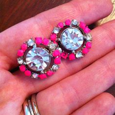 """""""Refreshed"""" clip on earrings with Essie's """"Punchy Pink"""" - inspired by Tom Binns"""