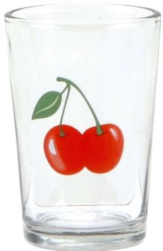 C.R. Gibson Jessie Steele Juice Glasses in a Decorative Tin, Kitchen Cherry, Set of 6