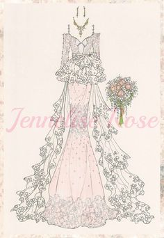 Jennelise: Wedding Gowns - her blog is full of beautiful wedding gown dresses she draws