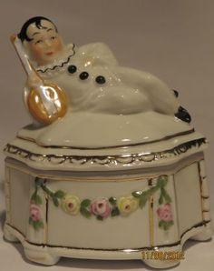 Antique German Figural Pierrot Trinket/powder Box/pot/jar Germany Half Doll Rel.