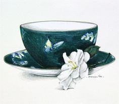 Jasper Conran Wedgwood Chinoiserie teacup and gardenia flower