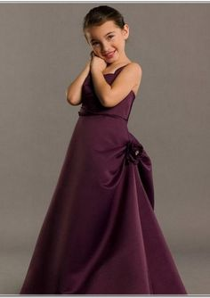 Grape A-line Straps Satin Pickups Floor Length Junior Bridesmaid Dresses