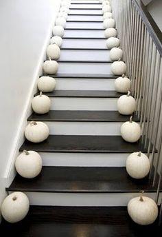 white pumpkin stairs