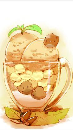 original Part 405 - - Anime Image Cute Food Drawings, Cute Animal Drawings Kawaii, Food Cartoon, Cartoon Pics, Kawaii Chibi, Kawaii Art, Cute Food Art, Cute Art, Anime Animals
