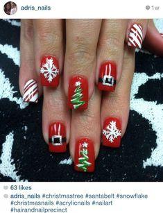 Very Cute Nail Designs for Christmas Party - Christmas Nail Art Designs - Holiday Nail Art, Christmas Nail Art Designs, Winter Nail Art, Winter Nails, Fancy Nails, Cute Nails, Pretty Nails, Christmas Tree Nails, Xmas Nails