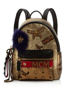 MCM Stark Insignia Small Metallic Backpack   Bloomingdale's