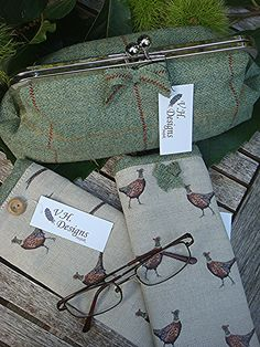 Mr and Mrs Specs cases with clasp bag just right for the country shoot made by V.H.DESIGNS