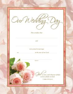 Free Keepsake Marriage Certificate Template  Ideas For My Wedding