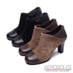 @2200 復古風尚異材質雙色拼接高跟踝靴~個性黑 缺6/7.5 咖缺5
