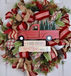 Christmas Tree Truck Burlap and Mesh Wreath with Pine Branches and Pine Cones; Red Green Beige Winter Holiday Wreath; Christmas Wreath Decor by ChewsieCreations on Etsy https://www.etsy.com/listing/556997659/christmas-tree-truck-burlap-and-mesh