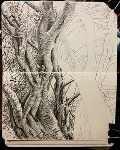 Just sketching. Lidia Barragán #sketch #tree #arbol #fineline #moleskine