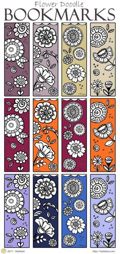 Hattifant's Flower Doodle Bookmarks to DIY and Color Creative Bookmarks, Flower Doodles, Adult Coloring Pages, Quilts, Flowers, Diy, Bricolage, Adult Colouring In, Patch Quilt