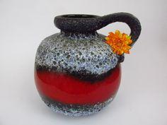 Große Vintage Keramik Vase / Scheurich / rot, schwarz, hellblau / Fat Lava / 484 21 | West German Pottery | 60er von ShabbRockRepublic auf Etsy