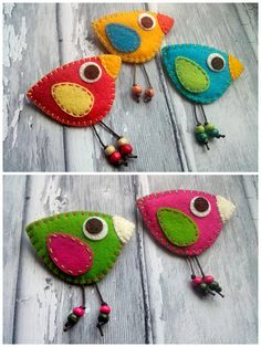 Bird felt brooch - red yellow blue green orange bird / funny colorful bird, strong bright colors Listing is for 1 brooch. For size reference see this photo with brooch in my hand Size of the bird is about 7 cm width and cm Bird Christmas Ornaments, Felt Ornaments, Orange Bird, Blue Bird, Orange Orange, Felt Birds, Felt Cat, Felt Brooch, Brooch Pin