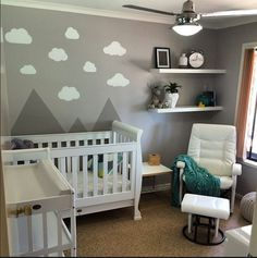 The start of my nursery... done for under $900... opp wall u cant see has 2 large chest of draws that im going to do another feature wall on... and add more colour to when we find out the sex of our baby... need a night rug.... so hard to find them