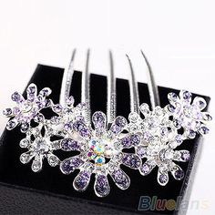 Womens Beauty Crystal Rhinestone Petal Tuck Comb Flower Hair Pin Hair Clip B77U