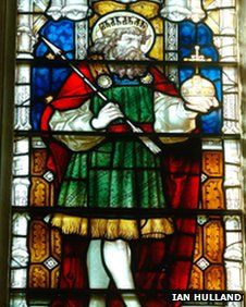 St Edmund window, St Edmundsbury Cathedral. St Edmund was peppered with arrows and beheaded in 860 in Anglia.  He's the subject of a campaign to replace St. George as the patron saint of England.