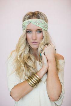 Gypsy headband, cute hair bands, women& boho, mint crystal leaf he Boho Hairstyles, Headband Hairstyles, Turban Headbands, Fashion Headbands, Boho Headband, Headband Styles, My Hair, Hair Clips, Fashion Beauty