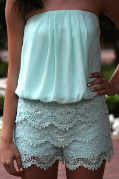 Strapless Lace Romper, Mint