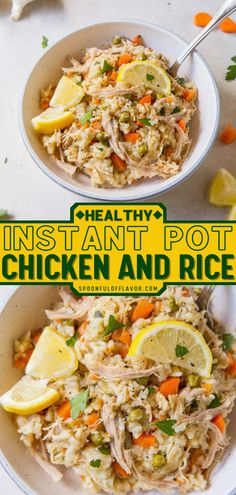 Instant pot chicken and rice is a healthy instant pot meal made with hearty vegetables, chicken, and fresh lemon flavor. Pick up your pressure cooker and make this healthy chicken recipe for dinner tonight! Asian Chicken Recipes, Asian Dinner Recipes, Easy Asian Recipes, Instant Pot Dinner Recipes, Easy Delicious Recipes, Healthy Recipes, Lemon Recipes, Tasty, Easy Family Meals
