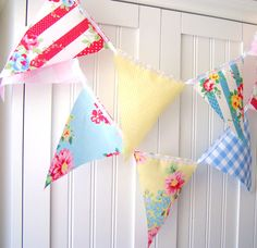 21 Fabric Flags, 9 Feet Party Banner, Bunting, Flowers, Vintage Gingham, Pink, Yellow, Blue, White, Baby Nursery Decor, Newborn Photo Prop