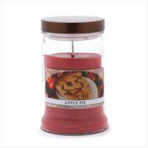 "Make any day into a celebration with the all-American scent of homemade apple pie! Juicy aromas of fruit and cinnamon add a joyful feel with their festive fresh-baked fragrance.    Burns up to 100 hours.Holds 15 oz. Made in USA. Langley candle. Weight 1.8 lbs. UPC# 644124531042. 3 3/4"" diameter x 5 3/4"" high. Highly fragranced wax in metal lidded glass container."