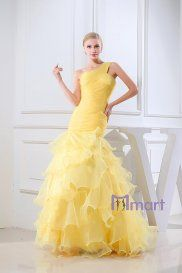 trumpet one shoulder  floor length Organza isilk fabric satin wedding dress.just at $339.98