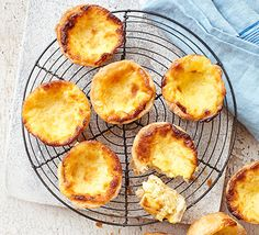 Pastéis de Nata/Portuguese Egg Custard Tarts - (These take 1 hour to make, including the pastry. Tart Recipes, Sweet Recipes, Egg Recipes, Recipies, No Bake Desserts, Just Desserts, Egg Custard Tart Recipe, Bbc Good Food Recipes, Cooking Recipes