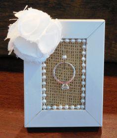 DIY Ring Holder- for sister? gold leaf frame, use print fabric for under frame, scrap flower and trim