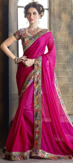cream and Pink georgette half and half sari. This sari is beautified with heavy floral embroidery and embroidered lace border work. It comes with a matching embroidered unstitched blouse. Indian Designer Sarees, Latest Designer Sarees, Latest Sarees, Indian Sarees, Party Wear Sarees Online, Online Shopping Sarees, Satin Saree, Pink Saree, Hyderabad