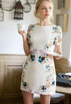White floral print one piece dress  from SweetiePie524