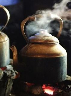 Kettle's on. Reminds me of the kettle singing on the cookstove in our kitchen at home,