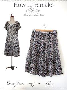 ワンピースやチュニックから、【ウエストゴム入りのスカート】の作り方