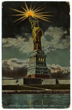 Statue of Liberty by night Postcard 1902 Source: The New York Public Library New York Harbor, Washington Square Park, I Love Ny, Night City, Art For Art Sake, New York Public Library, Nocturne, City Streets, Vintage Postcards