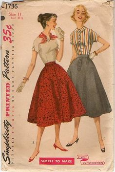 1950s Skirt & Blouse Pattern ~ Flared Skirt ~ Tab Detailed Top ~ B31.5 ~Simplicity 1736 ~ Vintage Sewing by VivsVintageSewShop on Etsy