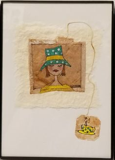 """Tea Bag Treasures  Suzanne LeLoup-west  """"Time For Tea"""" One of the girls ready for tea♡ 5x7 framed"""