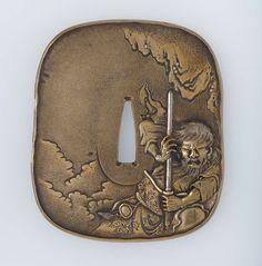 Tsuba with design of Yamato Takeru holding a sword. Edo period–Meiji era mid to late 19th century (before 1890) Hamano Noriyuki I (1736–1787), Forgery of Hamano Noriyuki II (1771–1852) http://www.mfa.org/collections/object/tsuba-with-design-of-yamato-takeru-holding-a-sword-10023