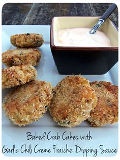 "Baked Crab Cakes   This recipe uses very little butter, and that could even be substituted with olive oil or ""smart balance."" Skip the creme fraiche too for a great light version"