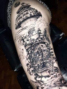 Tatuaje Studio Ghibli, Studio Ghibli Tattoo, Dream Tattoos, Body Art Tattoos, Portrait Tattoos, Face Tattoos, Tattoo Hurt, Tattoo Ink, Diy Tattoo