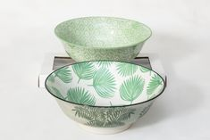 Green Bowl Set - Large - Set Of 2 - Serendipity Gifts Green Bowl, Bowl Set, Dinnerware, Porcelain, Tableware, Gifts, Dinner Ware, Porcelain Ceramics, Presents
