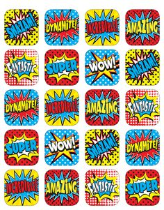 Stickers are great for rewards, encouragement, prizes, arts and crafts, incentive charts and more. Stickers are acid-free and lignin-free. Stickers measure approximately Each pack includes 120 stickers. Superhero Classroom Theme, Superhero Birthday Party, Classroom Themes, Batman Party, Superhero Font, Superhero Template, Space Classroom, Superhero Invitations, Classroom Supplies