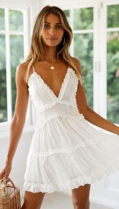 cute white lace ruffle short bodycon women mini dress spring summer homecoming dresses - Outfits to wear - Grad Dresses, Club Dresses, Homecoming Dresses, Sexy Dresses, Casual Dresses, Short Dresses, Mini Dresses, White Dress Casual, Simple White Dress