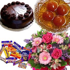 Special Gulab Jamuns and Flowers Hamper at Giftacrossindia
