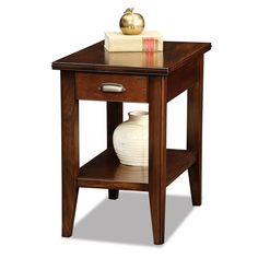 Drawer Chairside Table - Leick Furniture scaled solid wood elements are softened with beaded edge details and glinting highlights. Full extension, ball bearing drawer guides offer deep and sturdy drawer storage. The solid hardwood tops are ru Decor, Furniture, Solid Hardwood, Leick Home, Table, Home Decor, Chair Side Table, End Tables, End Tables With Drawers
