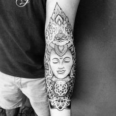 This sick half sleeve Buddha tattoo is definitely worth sharing