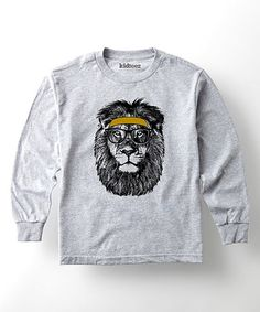 Look what I found on #zulily! Heather Gray Headband Lion Tee - Toddler