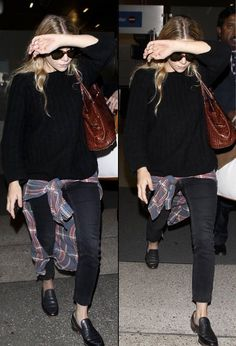 Olsens Anonymous Blog Ashley Olsen 6 Ways To Wear Plaid Shirt Tied At Waist Like Olsen Twins Airport Black Sweater Denim Black Leopard Loafer Flat Slip Ons Black Sunglasses Candid Brown Leather Bag The Row Faded Blue Red Shirt photo Olsens-Anonymous-Blog-Ashley-Olsen-6-Ways-To-Wear-Plaid-Shirt-Tied-At-Waist-Like-Olsen-Twins-Airport-Black-Sweater.jpg