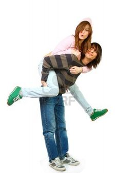 Portrait of a young couple in studio. Stock Photo